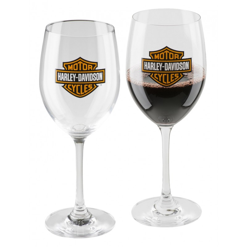 H-D Bar & Shield Wine Glass Set