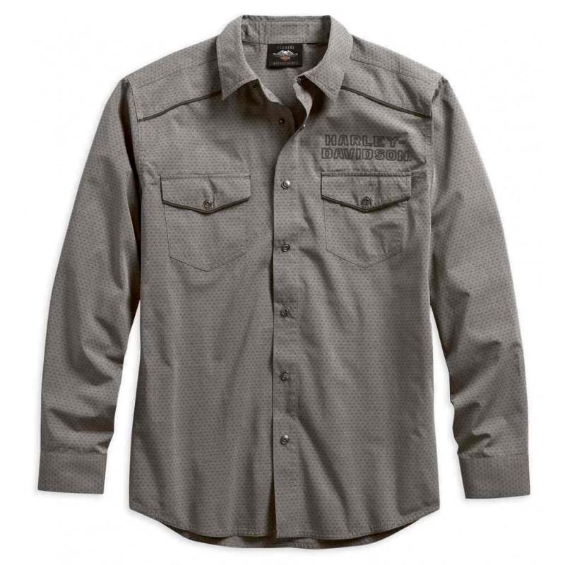 Men's Textured Dobby Snap-Down Long Sleeve Shirt