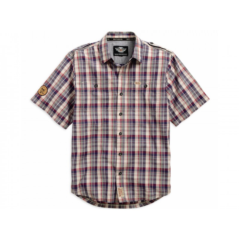 Men's Skull Patch Plaid S/S Shirt