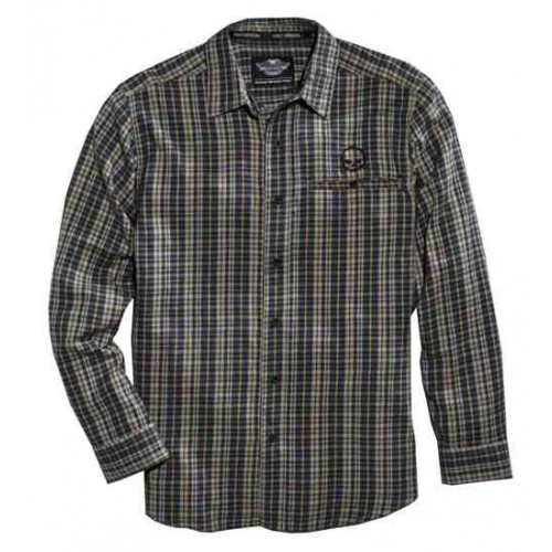 Men's Skull Plaid Flannel L/S Shirt