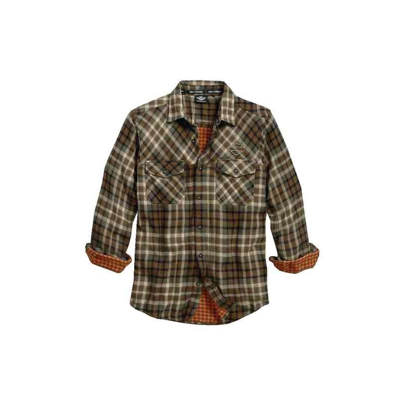 Men's Double Cloth Plaid Woven L/S Shirt