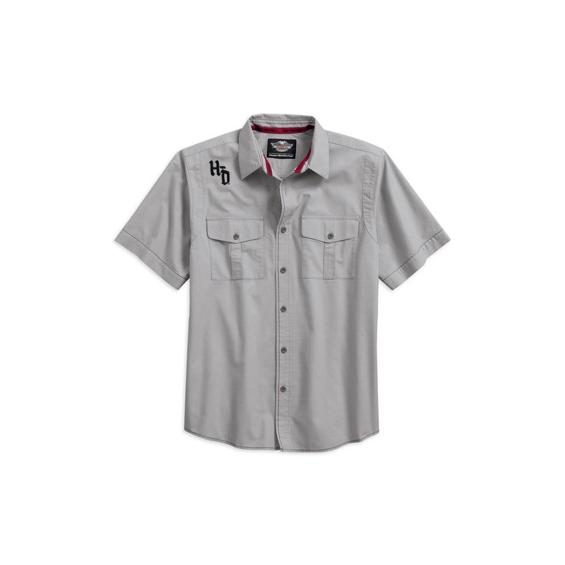 Men's Contrast Stitch Woven S/S Shirt