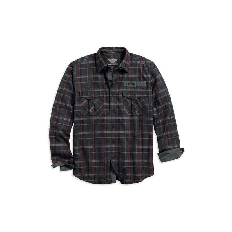 Men's Corduroy Trim Plaid Woven L/S Shirt