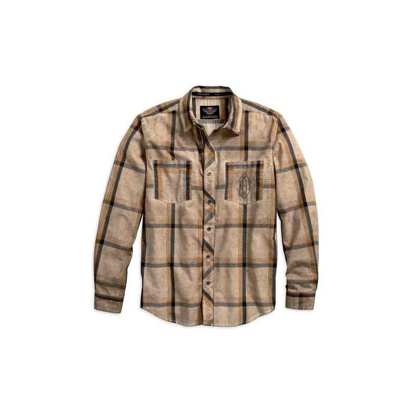 Men's Tea Stained Plaid Woven L/S Shirt