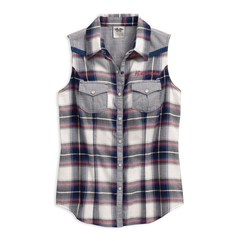 Women's Plaid Sleeveless Shirt