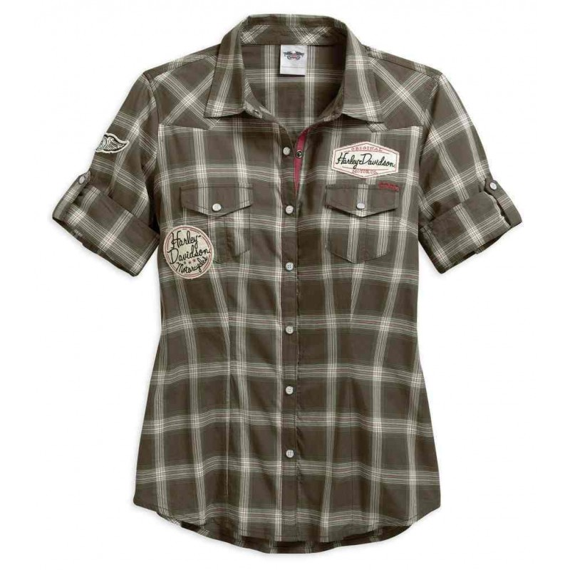 Women's Multi-Patch Short Sleeve Plaid Shirt