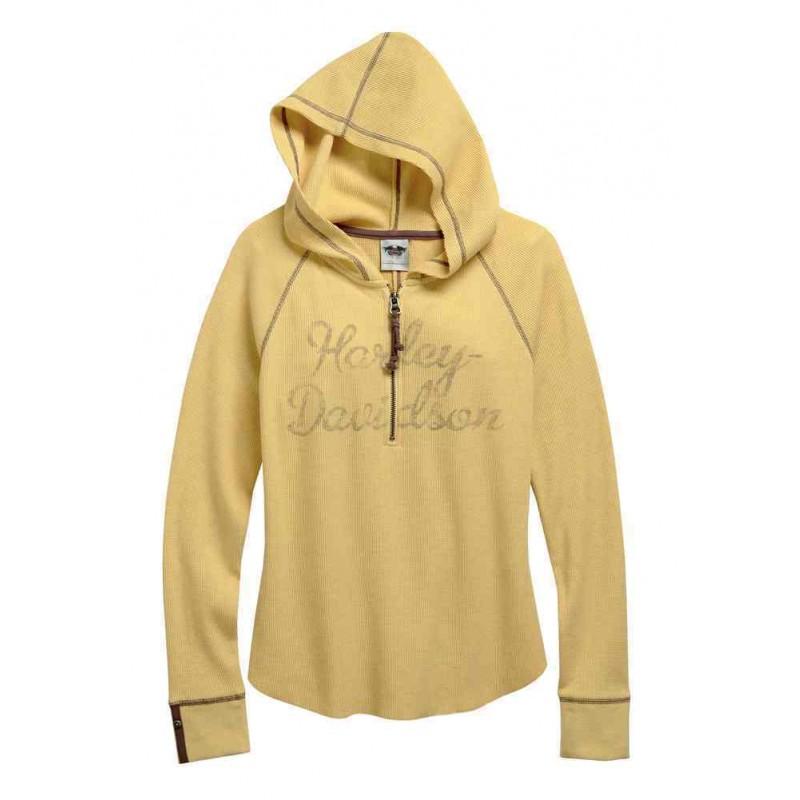 Women's 1/4-Zip Waffle Knit Henley Shirt