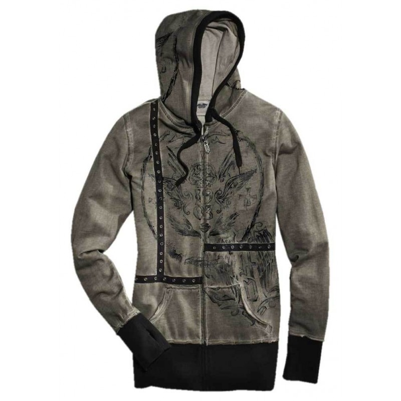 Women's Vintage Wash Zippered Hoodie
