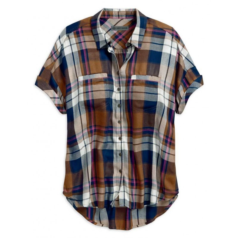 Women's Rayon Short Sleeve Plaid Woven Shirt