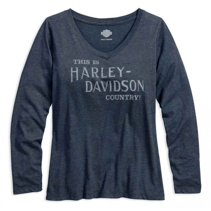 Women's Country V-Neck Slim Fit Long Sleeve Shirt