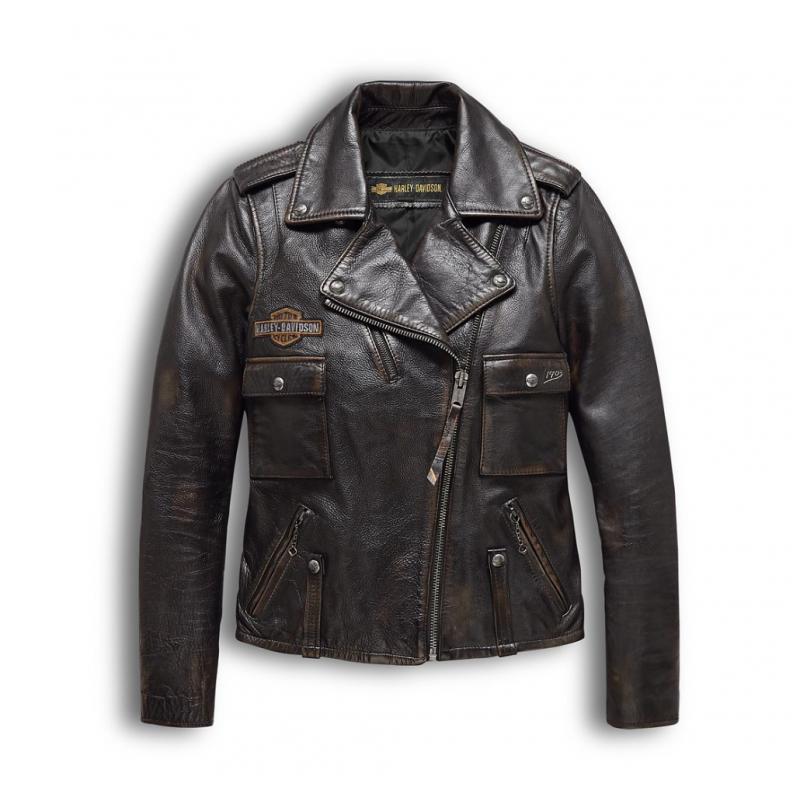 Harley-Davidson Women's  Eagle Logo Distressed Leather Biker Jacket